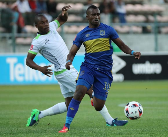 Bhongolethu Jayiya of Cape Town City FC gets away from Gift Sithole of Platinum Stars during the Absa Premiership 2016/17 football match between Cape Town City FC and Platinum Stars at Athlone Stadium, Cape Town on 13 December 2016 ©Chris Ricco/BackpagePix