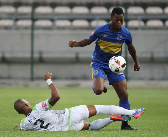 Thato Mokeke of Cape Town City FC tackled by Vuyo Mere of Platinum Stars during the Absa Premiership 2016/17 football match between Cape Town City FC and Platinum Stars at Athlone Stadium, Cape Town on 13 December 2016 ©Chris Ricco/BackpagePix