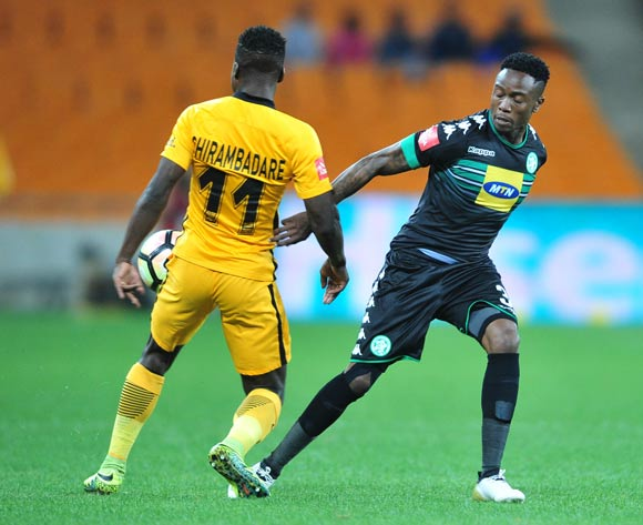 Edmore Chirambadare of Kaizer Chiefs challenged by Mthokozisi Dube of Bloemfontein Celtic during the Absa Premiership match between Kaizer Chiefs and Bloemfontein Celtic at the FNB Stadium in Johannesburg on the 14 December 2016©Samuel Shivambu/Backpagepix