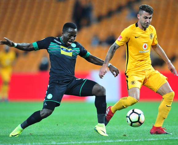 Atusaye Nyondo of Bloemfontein Celtic challenged by Daniel Cardoso of Kaizer Chiefs during the Absa Premiership match between Kaizer Chiefs and Bloemfontein Celtic at the FNB Stadium in Johannesburg on the 14 December 2016©Samuel Shivambu/Backpagepix