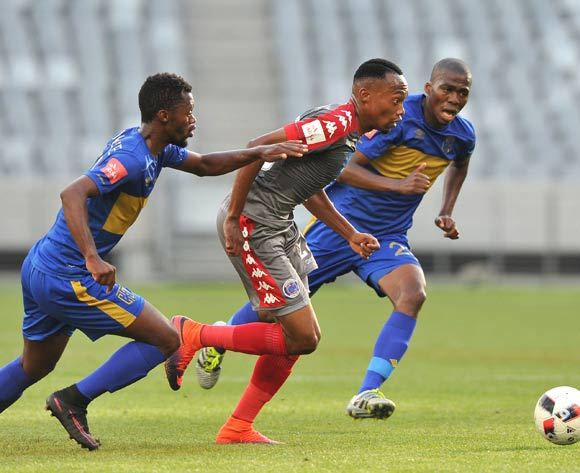 Thabo Mnyamane of Supersport United and Thato Mokeke of Cape Town City FC during the 2016 ABSA Premiership match between Cape Town City FC and Supersport United at the Cape Town Stadium,CAPE TOWN, on 16 December 2016  ©Luigi Bennett/BackpagePix