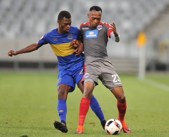 Thato Mokeke of Cape Town City FC and Thabo Mnyamane of Supersport United during the 2016 ABSA Premiership match between Cape Town City FC and Supersport United at the Cape Town Stadium,CAPE TOWN, on 16 December 2016  ©Luigi Bennett/BackpagePix