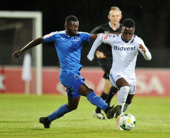 Gabadinho Mhango of Bidvest Wits challenged by Denis Weidlich of Maritzburg United during the Absa Premiership 2016/17 match between Maritzburg United and Bidvest Wits at Harry Gwala Stadium, Pietermaritzburg South Africa on 20 December 2016 ©Muzi Ntombela/BackpagePix