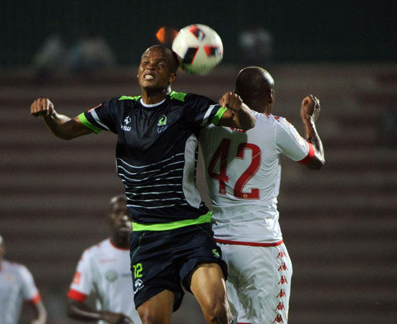 Solomon Mathe of Platinum Stars challenges Franklin Cale of Highlands Park during the Absa Premiership match between Highlands Park and Platinum Stars  on the 20 December 2016 at Makhulong Stadium Pic Sydney Mahlangu/ BackpagePix