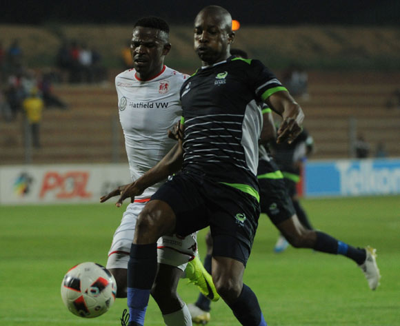 Gift Sithole of Platinum Stars challenges Edwin Sitayitayi of Highlands Park during the Absa Premiership match between Highlands Park and Platinum Stars  on the 20 December 2016 at Makhulong Stadium Pic Sydney Mahlangu/ BackpagePix