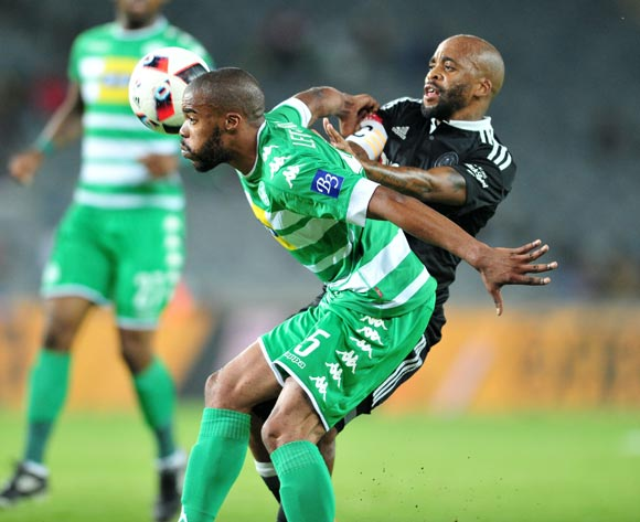 Wandisile Letlabika of Bloemfontein Celtic challenged by Oupa Manyisa of Orlando Pirates during the Absa Premiership match between Orlando Pirates and Bloemfontein Celtic at the Orlando Stadium in Johannesburg on the 20 December 2016©Samuel Shivambu/Backpagepix