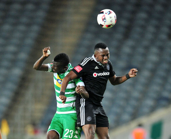 Vusi Shikweni of Bloemfontein Celtic challenged by Patrick Phungwayo of Orlando Pirates during the Absa Premiership match between Orlando Pirates and Bloemfontein Celtic at the Orlando Stadium in Johannesburg on the 20 December 2016©Samuel Shivambu/Backpagepix