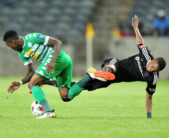 Mahlatsi Makudubela of Orlando Pirates Mthokozisi Dube of Bloemfontein Celtic during the Absa Premiership match between Orlando Pirates and Bloemfontein Celtic at the Orlando Stadium in Johannesburg on the 20 December 2016©Samuel Shivambu/Backpagepix