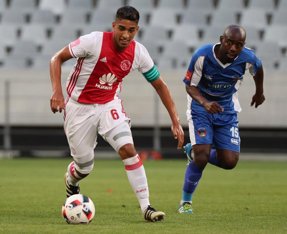 Travis Graham of Ajax Cape Town gets away from Sandile Zuke of Chippa United during the Absa Premiership 2016/17 football match between Ajax Cape Town and Chippa United at Cape Town Stadium, Cape Town on 21 December 2016 ©Chris Ricco/BackpagePix