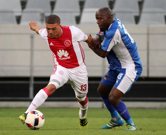 Grant Margeman of Ajax Cape Town evades challenge from Sandile Zuke of Chippa United during the Absa Premiership 2016/17 football match between Ajax Cape Town and Chippa United at Cape Town Stadium, Cape Town on 21 December 2016 ©Chris Ricco/BackpagePix