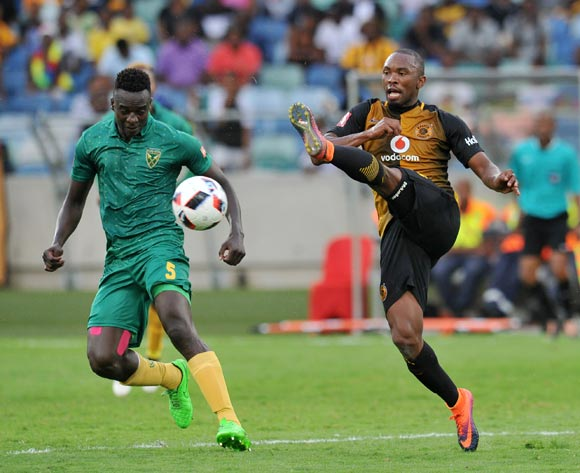 Bernard Parker of Kaizer Chiefs challenged by Limbikani Mzava of Golden Arrows during the Absa Premiership 2016/17 match between Golden Arrows and Kaizer Chiefs at Moses Mabhida Stadium, Durban South Africa on 21 December 2016 ©Muzi Ntombela/BackpagePix