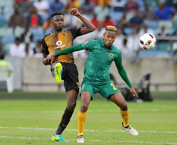 Erick Mathoho of Kaizer Chiefs clears ball from Sibusiso Sibeko of Golden Arrows during the Absa Premiership 2016/17 match between Golden Arrows and Kaizer Chiefs at Moses Mabhida Stadium, Durban South Africa on 21 December 2016 ©Muzi Ntombela/BackpagePix