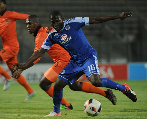 Walter Maponyane of Polokwane City challenges Aubrey Modiba of Supersport United  during the Absa Premiership match between Supersport United and Polokwane City  on the 21 December 2016 at Lucas Moripe Stadium Pic Sydney Mahlangu/ BackpagePix