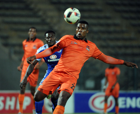 Thabisoma Tema of Polokwane City is challenged by Kingston Nkhatha of Supersport United  during the Absa Premiership match between Supersport United and Polokwane City  on the 21 December 2016 at Lucas Moripe Stadium Pic Sydney Mahlangu/ BackpagePix