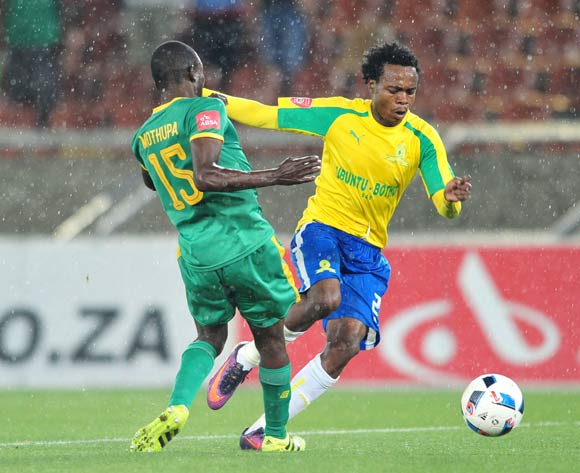 Percy Tau of Supersport United challenged by Albert Mothupa of Baroka FC during the Absa Premiership match between Baroka FC and Mamelodi Sundowns at the Peter Mokaba Stadium in Limpopo on the 22 December 2016©Samuel Shivambu/Backpagepix