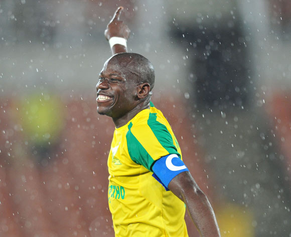 Hlompho Kekana of Mamelodi Sundowns celebrates his goal during the Absa Premiership match between Baroka FC and Mamelodi Sundowns at the Peter Mokaba Stadium in Limpopo on the 22 December 2016©Samuel Shivambu/Backpagepix