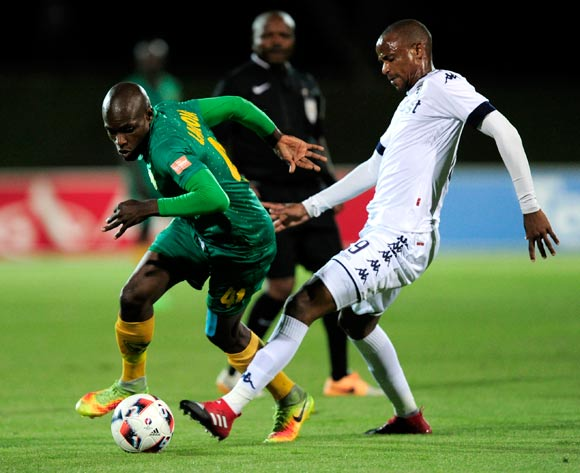 Lerato Lamola of Golden Arrows and Xola Mlambo of Bidvest Wits compete for the ball during the Absa PSL 2016/17 game between Golden Arrows v Bidvest Wits at Princess Magogo Stadium, KwaZulu-Natal on 14 December 2016 © Gerhard Duraan/BackpagePix