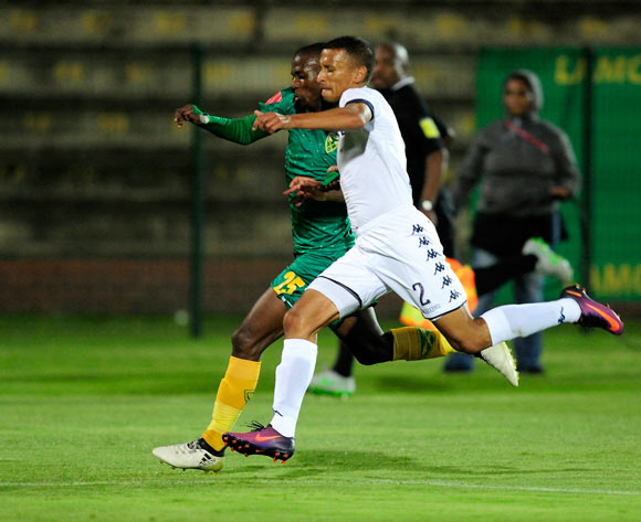 Nazeer Allie of Bidvest Wits and Nduduzo Sibiya of Golden Arrows compete for the ball during the Absa PSL 2016/17 game between Golden Arrows v Bidvest Wits at Princess Magogo Stadium, KwaZulu-Natal on 14 December 2016 © Gerhard Duraan/BackpagePix