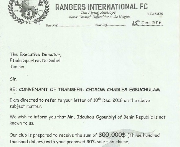 Rangers make u-turn on Chisom Egbuchulam transfer