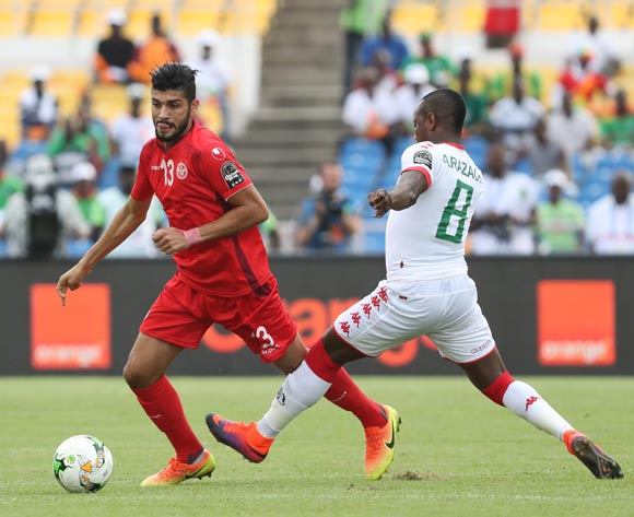 Ferjani Sassi of Tunisia (l) gets away from Abdoul Razack Traore of Burkina Faso (r)  during the 2017 African Cup of Nations Finals Afcon quarterfinal football match between Burkina Faso and Tunisia  at the Libreville Stadium in Gabon on 28 January 2017 ©Gavin Barker/BackpagePix