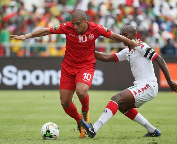 Wahbi Khazri of Tunisia evades tackle from Charles Kabore of Burkina Faso  during the 2017 African Cup of Nations Finals Afcon quarterfinal football match between Burkina Faso and Tunisia  at the Libreville Stadium in Gabon on 28 January 2017 ©Gavin Barker/BackpagePix