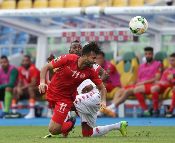 Taha Yassine Khenissi of Tunisia wins header against Blati Toure of Burkina Faso during the 2017 African Cup of Nations Finals Afcon quarterfinal football match between Burkina Faso and Tunisia  at the Libreville Stadium in Gabon on 28 January 2017 ©Gavin Barker/BackpagePix