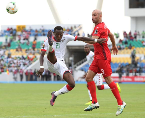 Cyrille Bayala of Burkina Faso clears ball from Aymen Abdennour of Tunisia (r)  during the 2017 African Cup of Nations Finals Afcon quarterfinal football match between Burkina Faso and Tunisia  at the Libreville Stadium in Gabon on 28 January 2017 ©Gavin Barker/BackpagePix