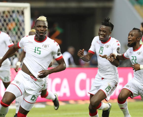 Aristide Bance of Burkina Faso (l) celebrates goal during the 2017 African Cup of Nations Finals Afcon quarterfinal football match between Burkina Faso and Tunisia  at the Libreville Stadium in Gabon on 28 January 2017 ©Gavin Barker/BackpagePix