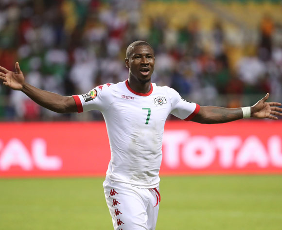 Prejuce Nakoulma of Burkina Faso celebrates victory during the 2017 African Cup of Nations Finals Afcon quarterfinal football match between Burkina Faso and Tunisia  at the Libreville Stadium in Gabon on 28 January 2017 ©Gavin Barker/BackpagePix