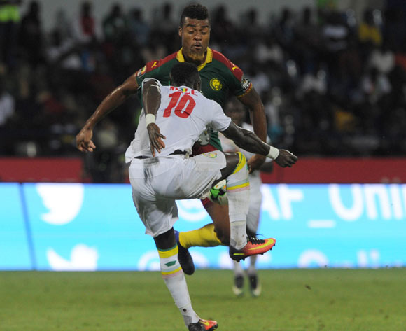 Adolph Teikeu Kamgang of Cameroon challenges Sadio Mane of Senegal during the Afcon Quarter Final match between Senegal and Cameroon on the 28 January 2017 at Franceville , Gabon Pic Sydney Mahlangu/ BackpagePix