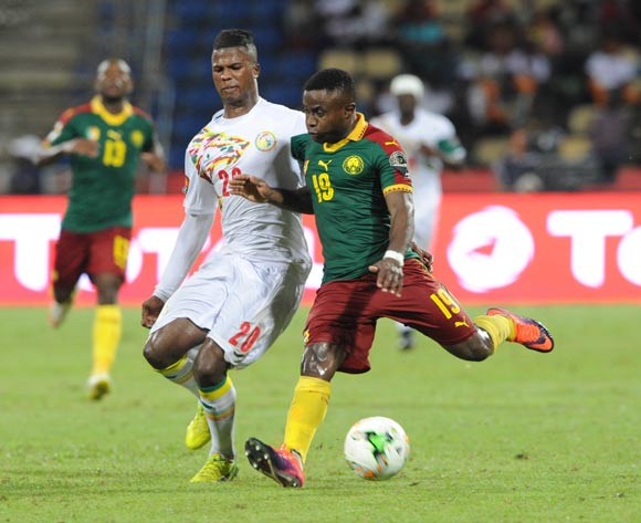 Keita Balde of Senegal challenges Collins Fai of Cameroon  during the Afcon Quarter Final match between Senegal and Cameroon on the 28 January 2017 at Franceville , Gabon Pic Sydney Mahlangu/ BackpagePix