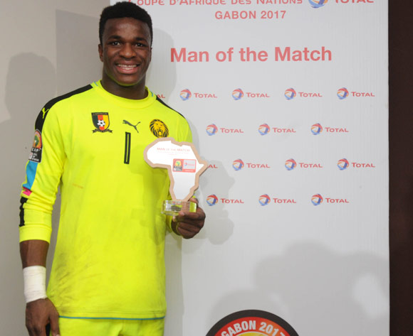 Joseph Ebogo of Cameroon awarded TOTAL man of the match  during the Afcon Quarter Final match between Senegal and Cameroon on the 28 January 2017 at Franceville , Gabon Pic Sydney Mahlangu/ BackpagePix
