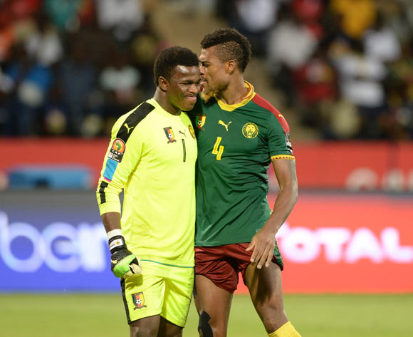 Joseph Ebogo of Cameroon with teammate Adolph Teikeu Kamgang of Cameroon during the Afcon Quarter Final match between Senegal and Cameroon on the 28 January 2017 at Franceville , Gabon Pic Sydney Mahlangu/ BackpagePix