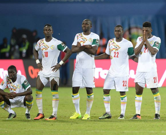 Senegal players dejected after loosing on penalties  during the Afcon Quarter Final match between Senegal and Cameroon on the 28 January 2017 at Franceville , Gabon Pic Sydney Mahlangu/ BackpagePix