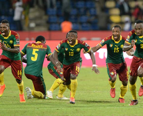 Cameroon celebrate. Pic Sydney Mahlangu/ BackpagePix