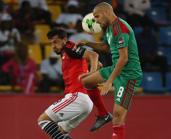 Tarek Hamed of Egypt battles for the ball with Karim Aroussi El Ahmadi of Morocco during the 2017 Africa Cup of Nations Finals football Quarter Final match between Egypt and Morocco at the Port Gentil Stadium in Gabon on 29 January 2017 ©Chris Ricco/BackpagePix