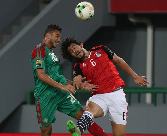 Aziz Bouhaddouz of Morocco battles for the ball with Ahmed Hegazy of Egypt during the 2017 Africa Cup of Nations Finals football Quarter Final match between Egypt and Morocco at the Port Gentil Stadium in Gabon on 29 January 2017 ©Chris Ricco/BackpagePix