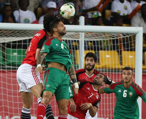 Manuel Marouan Trindad Da Costa of Morocco  battles for the ball with Ahmed Hegazy of Egypt during the 2017 Africa Cup of Nations Finals football Quarter Final match between Egypt and Morocco at the Port Gentil Stadium in Gabon on 29 January 2017 ©Chris Ricco/BackpagePix