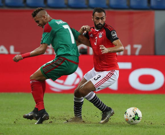 Ahmed Elmohamady of Egypt battles for the ball with Youssef En Nesyri of Morocco during the 2017 Africa Cup of Nations Finals football Quarter Final match between Egypt and Morocco at the Port Gentil Stadium in Gabon on 29 January 2017 ©Chris Ricco/BackpagePix