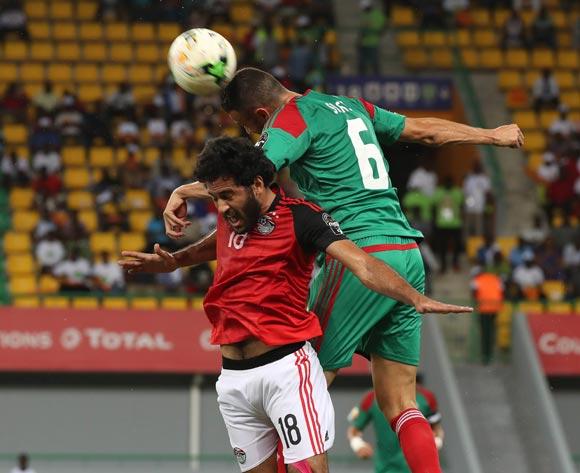 Marwan Mohsen of Egypt battles for the ball with Mehdi Mouttaqui Benatia of Morocco during the 2017 Africa Cup of Nations Finals football Quarter Final match between Egypt and Morocco at the Port Gentil Stadium in Gabon on 29 January 2017 ©Chris Ricco/BackpagePix