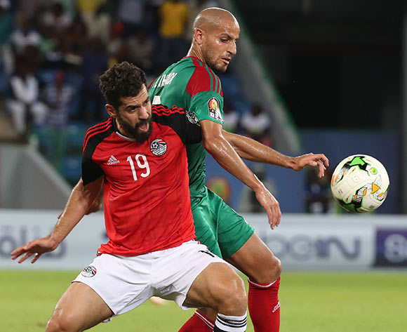 Abdallah El Said of Egypt battles for the ball with Karim Aroussi El Ahmadi of Morocco during the 2017 Africa Cup of Nations Finals football Quarter Final match between Egypt and Morocco at the Port Gentil Stadium in Gabon on 29 January 2017 ©Chris Ricco/BackpagePix