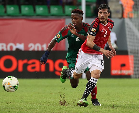 Tarek Hamed of Egypt gets away from Hamza Mendyl of Morocco during the 2017 Africa Cup of Nations Finals football Quarter Final match between Egypt and Morocco at the Port Gentil Stadium in Gabon on 29 January 2017 ©Chris Ricco/BackpagePix