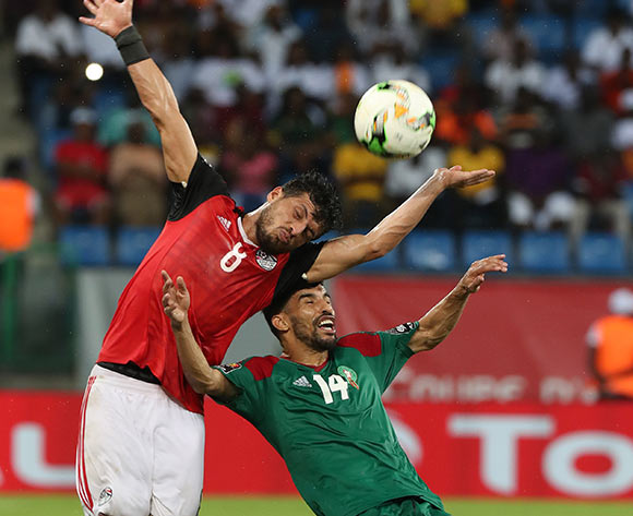 Tarek Hamed of Egypt battles for the ball with Mbark Boussoufa of Morocco during the 2017 Africa Cup of Nations Finals football Quarter Final match between Egypt and Morocco at the Port Gentil Stadium in Gabon on 29 January 2017 ©Chris Ricco/BackpagePix