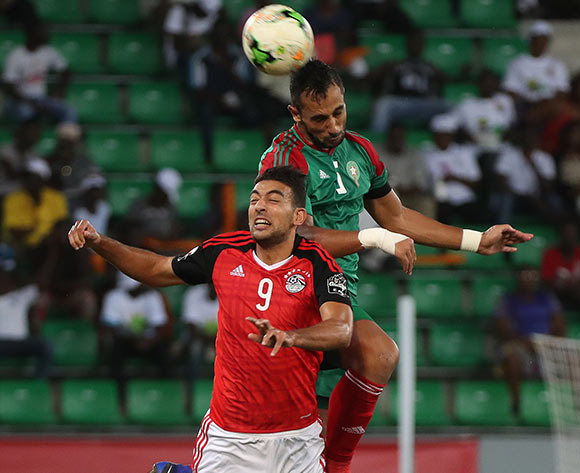 Ahmed Hassan Kouka of Egypt battles for the ball with Mehdi Mouttaqui Benatia of Morocco during the 2017 Africa Cup of Nations Finals football Quarter Final match between Egypt and Morocco at the Port Gentil Stadium in Gabon on 29 January 2017 ©Chris Ricco/BackpagePix