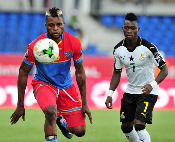 Junior Kalonji of DR Congo challenged by Christian Atsu of Ghana during the 2017 Africa Cup of Nations Finals Afcon Quarter Final football match between  DR Congo and Ghana at the Oyem Stadium in Gabon on 29 January 2017 ©Samuel Shivambu/BackpagePix