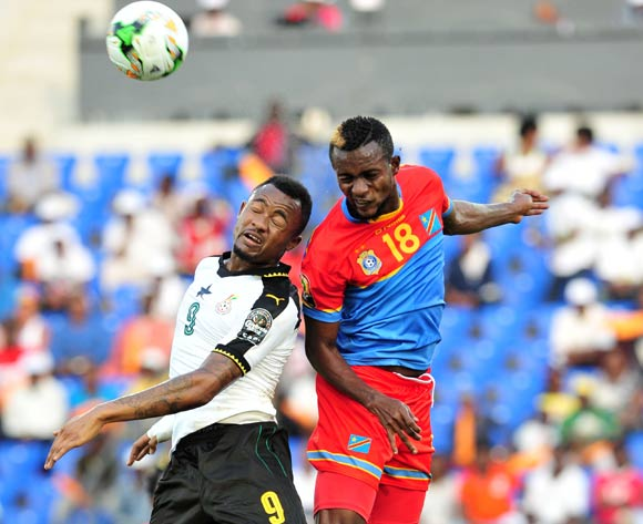 Jordan Ayew of Ghana challenged by Merveille Bope of DR Congo during the 2017 Africa Cup of Nations Finals Afcon Quarter Final football match between  DR Congo and Ghana at the Oyem Stadium in Gabon on 29 January 2017 ©Samuel Shivambu/BackpagePix