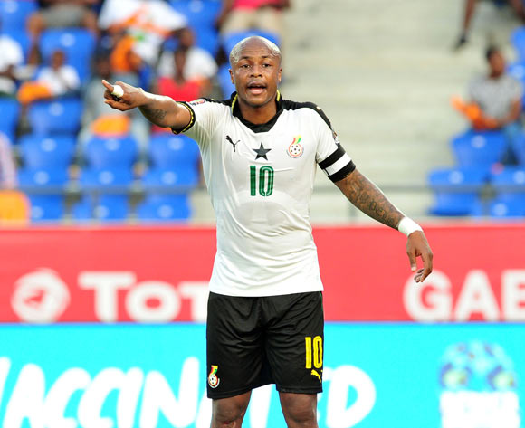 Andre Ayew of Ghana reacts instructs teammates during the 2017 Africa Cup of Nations Finals Afcon Quarter Final football match between  DR Congo and Ghana at the Oyem Stadium in Gabon on 29 January 2017 ©Samuel Shivambu/BackpagePix