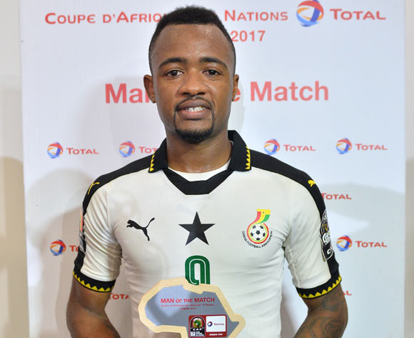 Jordan Ayew of Ghana wins Total Man of the match during the 2017 Africa Cup of Nations Finals Afcon Quarter Final football match between  DR Congo and Ghana at the Oyem Stadium in Gabon on 29 January 2017 ©Samuel Shivambu/BackpagePix