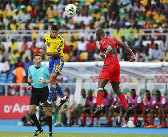 Denis Athanase Bouanga of Gabon (l) wins header against Nani Soares of Guinea Bissau  during the 2017 Africa Cup of Nations Finals football match between Gabon and Guinea Bissau at the Libreville Stadium in Gabon on 14 January 2017 ©Gavin Barker/BackpagePix