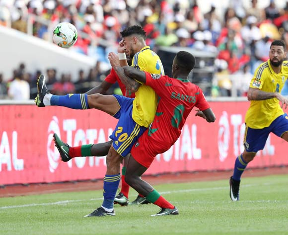 Denis Athanase Bouanga of Gabon fouled by Francisco Santos Junior of Guinea Bissau during the 2017 Africa Cup of Nations Finals football match between Gabon and Guinea Bissau at the Libreville Stadium in Gabon on 14 January 2017 ©Gavin Barker/BackpagePix